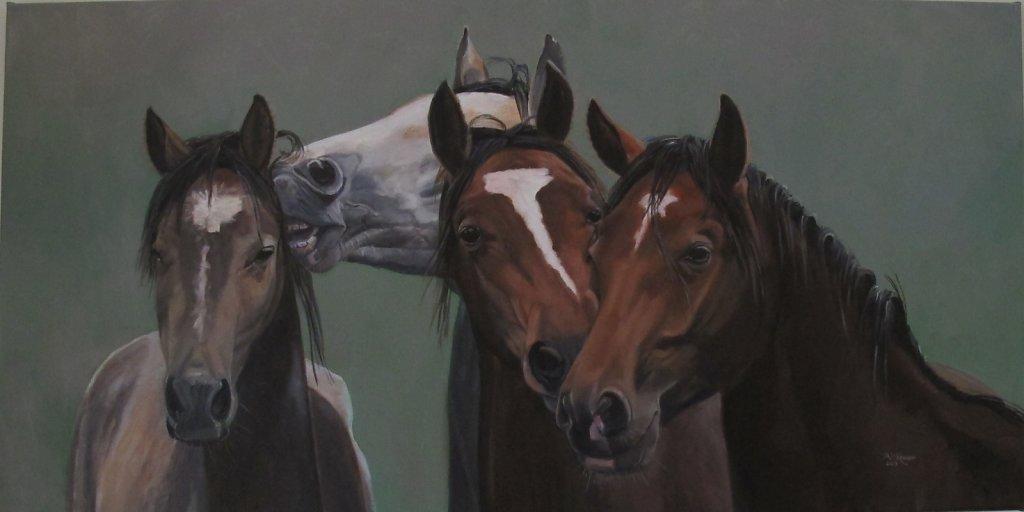 4 paarden, 100 x 50, op doek, prijs op aanvraag