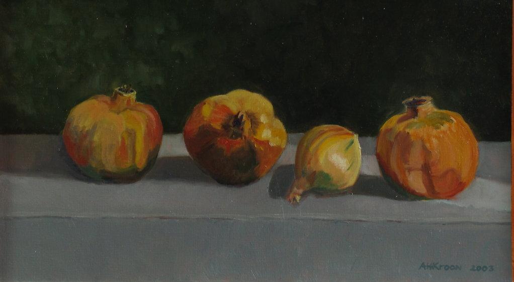 granaatappels, 45 x 25, verf op olieverfpapier, prijs op aanvraag