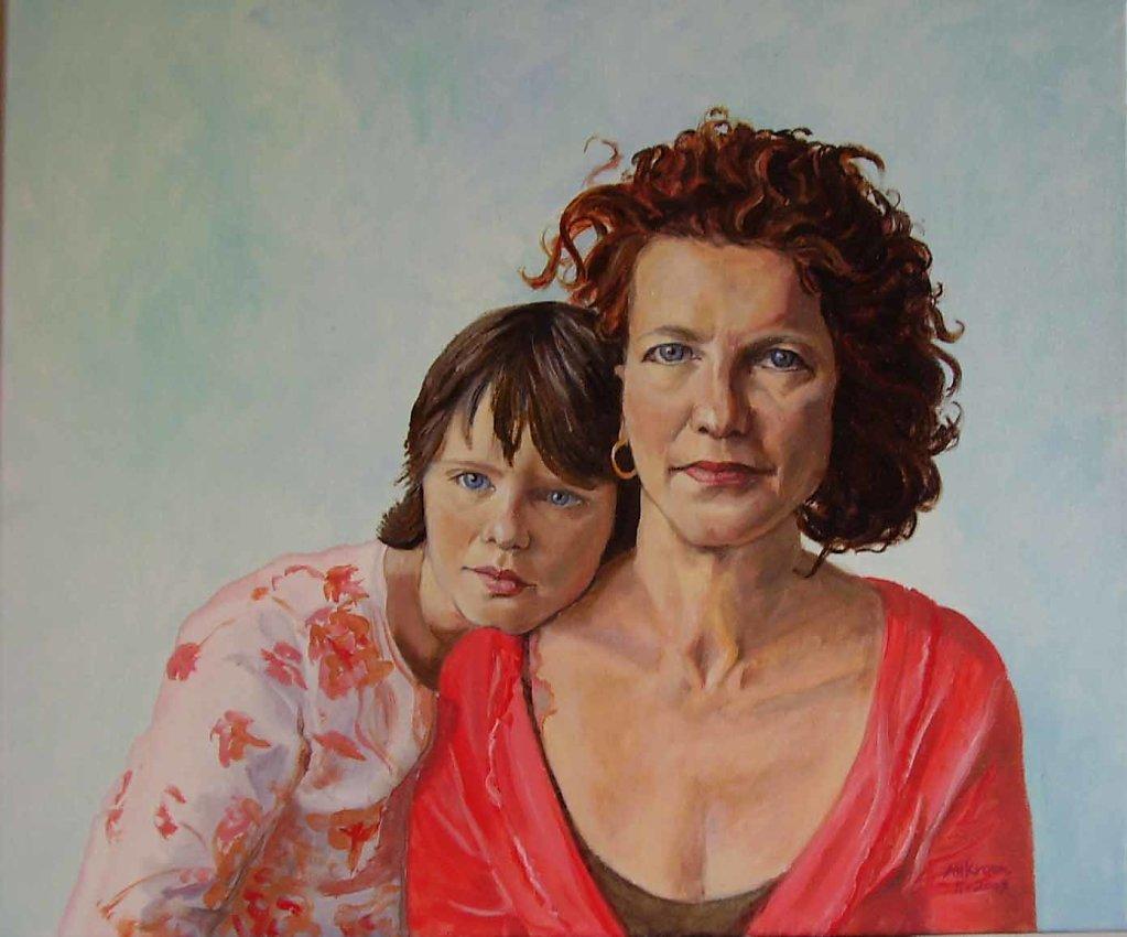 Emmy en Anna, 50 x 60, olieverf op doek, verkocht