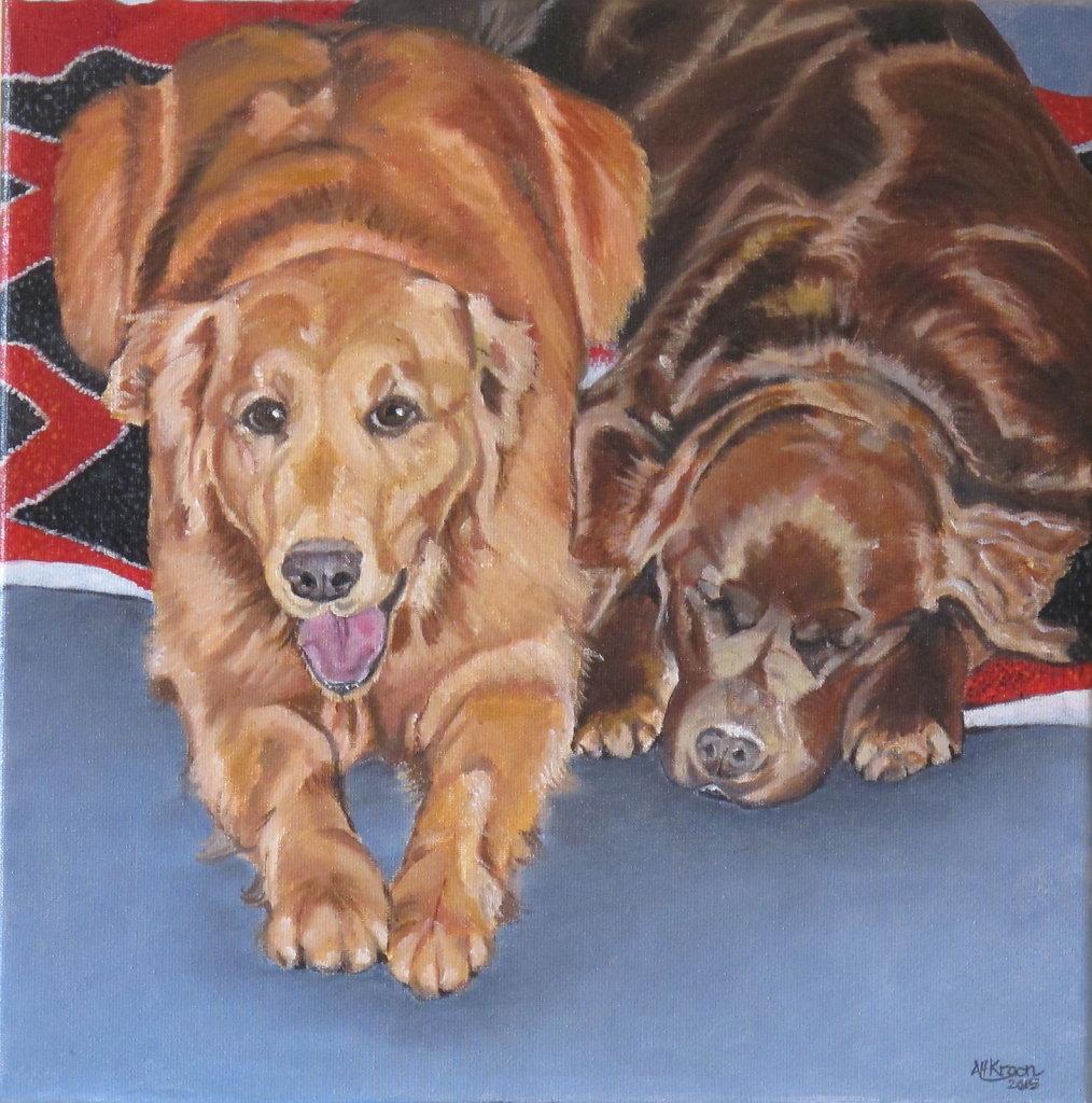 honden van Josh, olieverf op doek, verkocht